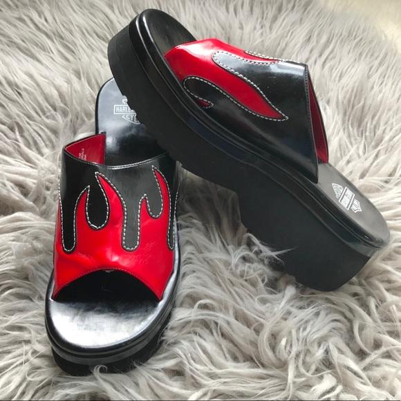 Harley Davidson Sandals Flames Platform Black Red